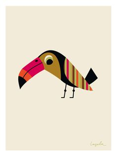 Striped Tucan by Ingela P. Creature Picture, Bird Illustration, Bird Art, Beautiful Birds, Cute Art, Character Design, Drawings, Prints, Colorful Artwork