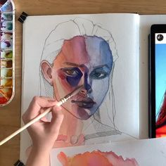 Colorful portrait 🖤 by Polina Bright - Art ideas Watercolor Artwork, Watercolor Portraits, Painting Portraits, Watercolor Art Diy, Watercolor Video, Evvi Art, Gcse Art Sketchbook, Watercolor Sketchbook, Sketchbooks