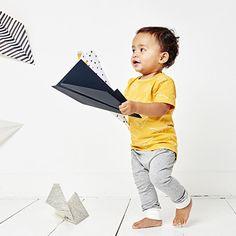Okergeel shirt van CarlijnQ met offwhite 'origami planes' print | Kixx Online