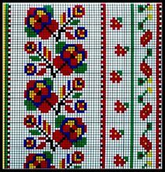 Dsn 123 Cross Stitch, Cross Stitch Borders, Cross Stitch Flowers, Cross Stitch Designs, Cross Stitch Patterns, Folk Embroidery, Cross Stitch Embroidery, Embroidery Patterns, Palestinian Embroidery