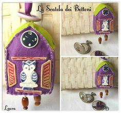Casetta in feltro 6X6 con lavanda Orologio Gufo a cucu