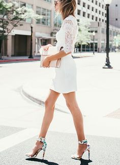 Short white dress and purse, heels. Street summer elegant women fashion outfit clothing style apparel @roressclothes closet ideas