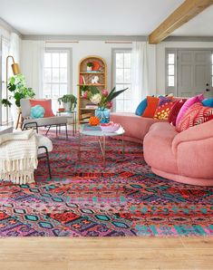 Happy, vibrant, and energetic, this bejeweled rug pattern is guaranteed to bring positive vibes to any space. This is a random pattern and no two tiles are alike. The pattern will not align. | Over The Moon - Persimmon Colourful Living Room, Boho Living Room, Living Room Carpet, Bright Living Room Decor, Cozy Eclectic Living Room, Colorful Couch, Colorful Rooms, Bright Decor, Boho Room
