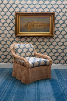 The Soane Britain rattan Lily Armchair upholstered in Seaweed Lace azure with matching wallpaper for spring Lace Wallpaper, Console, Rattan Armchair, Rattan Stool, Rattan Furniture, Swan Chair, Luminaire Mural, French Pattern, Matching Wallpaper