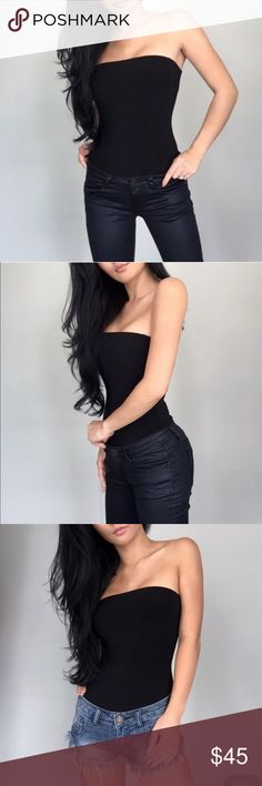 Black Tube Top Body Suit from @itselaine Top quality material, double lined, with slight cup padding and a non-slip band and double snap-button clasp.  I am selling only because I don't feel like I fill out the top well enough and would have gone a size down (I am a small 32C, 100 pounds).  Detagged but brand new.  I only tried it on once (with panties, in case I had to re-posh).  Purchased from the amazing @itselaine.  Photos: @itselaine.  Go check out her closet if you haven't already…
