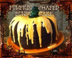 HOW COOL IS THIS!!!? Pumpkin Shape Bundt Cake!!! ( Did someone say CHOCOLATE?!! lol)  Make two chocolate cakes in a Bundt pan place them together on a Display plate. Make any flavor frosting of your choice color it orange. warm icing to make it runny pour frosting over top . We took a plain colored Ice cream cone filled a tall glass with water and green food coloring and dipped the cone in to get it green and so it would wilt a little to look like a pumpkin stem..www.facebook.com/sherrie.age...