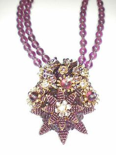 Stanley Hagler Purple Stone Necklace and Earring Set