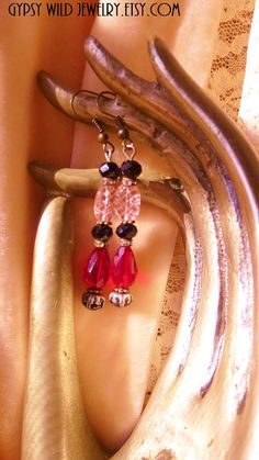 Ruby Red Beaded Earrings Rhinestone Black by gypsywildjewelry, $29.00