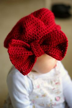 Big Bow Beret for Baby Girl. Red & More Colors Available