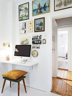 Apartment Therapy Small Spaces Living Room: Small Space Solutions: The Wall Mounted Desk Decor, Furniture, Apartment Living, Interior, Home, Wall Mounted Desk, House Interior, Small Space Living, Floating Desk