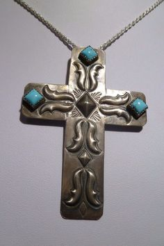 Navajo Tim Yazzie Turquoise Silver Cross Pendant Handcrafted Charm Native WOW #TYazzie
