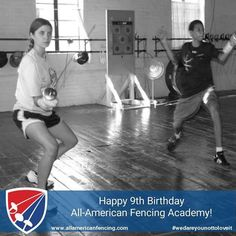 Happy 9th Birthday All-American Fencing Academy! Post your experience/story about your time with AAFA with the hashtag #aafabirthday Coach Gerhard started teaching fencing in Fayetteville NC in 2001 at Pine Forest Recreation Center. For a few years the club was on Fort Bragg. On May 6 2008 the club became an LLC and opened it's doors in Downtown Fayetteville in its current location and has been there ever since! In this picture is Brianna Osinski and John Murray two of our earliest students…