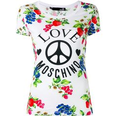 Love Moschino printed T-shirt (€140) ❤ liked on Polyvore featuring tops, t-shirts, white, love moschino t shirt, love moschino, white t shirt, white tee and white top