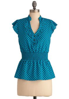 Take On Today Top in Blue - Mid-length, Blue, Black, Polka Dots, Vintage Inspired, Cap Sleeves, Buttons, Ruffles, Work
