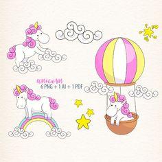 Unicorn clipart, vector unicorn, Fantasy Clipart, rainbow clip art, air balloon by DigiPPP on Etsy