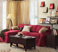 PB Basic Slipcovered Sofa with Chaise Sectional #potterybarn