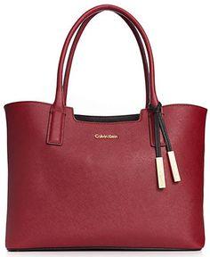 Calvin Klein Handbag, Key Items Saffiano Tote - Handbags & Accessories - Macy's