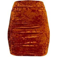 Elettra Bronze Crushed Velvet Side Ruched Mini Skirt