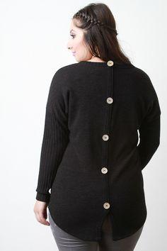 Button Back Sweater Top - Gioellia Boutique - 1