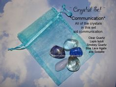 ~ Communication Set ~  The crystals in this set help you to have healthy communication.  they help you with expressing your feelings and opinions and communicating them. Carry with you daily. Clear Quartz, Lapis lazuli, Smokey Quartz, Blue Lace Agate and Sodlaite www.thecrystalhealingconnection.com