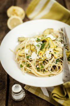 Lemon linguine with zucchini & Feta