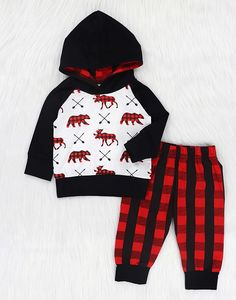 Amazon.com: Baby Boys Girls Clothes 2pcs Outfits Deer Hoodie Tops +Plaid Long Pants+Hat Set: Clothing