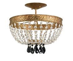Shaw White Coral Ceiling Mount With Gold Leaf by Currey