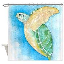 Green Sea Turtle Shower Curtain for