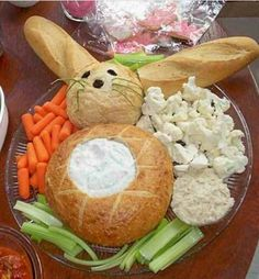 Easter bunny themed veggie dip tray easter party food ideas
