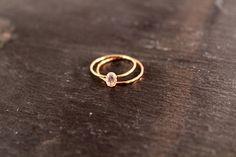 14K SOLID Gold Oval Stapeln Set  zwei Ringe Alternative