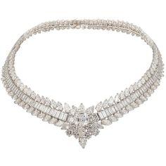 VAN CLEEF ARPELS Platinum Diamond Necklace ❤ liked on Polyvore