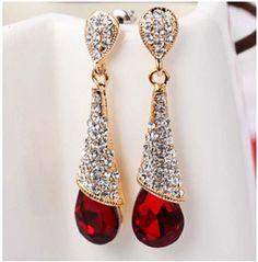 Aaishwarya Glitzy Red Crystal Drop Earrings #earrings #partyearrings #dropearrings #danglers #crystaldrops #crystalearrings
