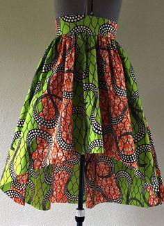 Striking African Wax Print High Low Skirt Green Orange Wave Print 100% Cotton.  Ankara | Dutch wax | Kente | Kitenge | Dashiki | African print bomber jacket | African fashion | Ankara bomber jacket | African prints | Nigerian style | Ghanaian fashion | Senegal fashion | Kenya fashion | Nigerian fashion | Ankara crop top (affiliate)