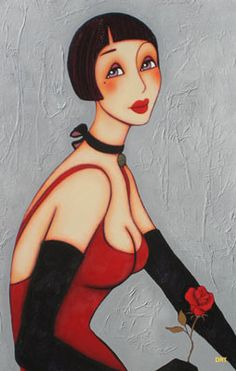 Woman in Red Dress w' Red Rose *(title to look into & more info on this piece) by Corinne Reignier via bing.com★♥★