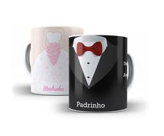 Kit padrinhos 2 canecas de porcelana personalizada (1 para padrinho e 1 para madrinha)    Nossas canecas personalizadas são de porcelana de alta qualidade, a estampa é feita diretamente na caneca, não é adesivo.    *Podem ir ao microondas.    Canecas com brilho especial, com cores vivas.    A can... Ideas Para Fiestas, Wedding Cookies, Wedding Boxes, Projects To Try, Marriage, Presents, Candles, Mugs, Tableware