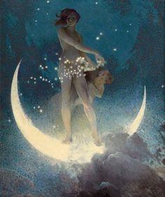 Spring Scattering Stars by Edwin Blashfield, 1927 - Moon Art - Moon Goddess Print - Vintage Woman and Child Celestial Pagan Art Art And Illustration, Fantasy Kunst, Fantasy Art, Kunst Online, Moon Magic, Inspiration Art, Moon Goddess, Moon Art, Nocturne