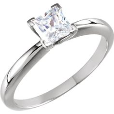 14kt white square shape engagement ring. Find it at a jeweler near you: www.stuller.com/locateajeweler #bestseller #engagement #princesscut