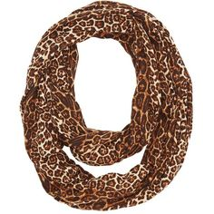 Charlotte Russe Leopard Infinity Scarf ($9.99) ❤ liked on Polyvore featuring…