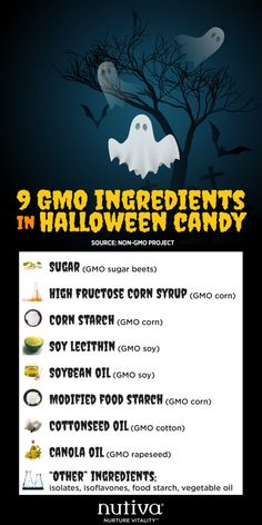 Treats Not Tricks this Halloween 9 GMO Ingredients in Halloween Candy kitchen.nutiva.com