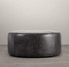 """36"""" Cooper Round Leather Ottoman in Vintage Cigar color"""