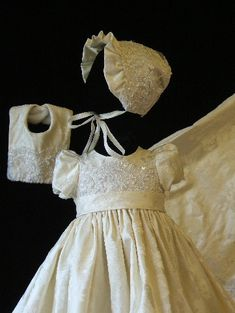 "Angela West Christening gown ""Camille"" one of a kind ivory silk brocade"