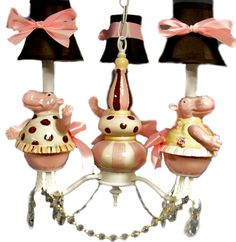 Nursery Chandelier Pink and Brown Whimsical Dancing Hippos. $275.00, via Etsy.