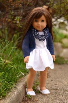 White dress for 18 inch dolls fits American by JulesNmeDollDesigns