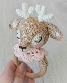 Baby Knitting Patterns Needles Crocheted reindeer for a baby grab ring – crochet pattern via Makerist. Crochet Deer, Crochet Baby Toys, Tapestry Crochet, Crochet Animals, Crochet Yarn, Crochet Patterns Amigurumi, Baby Knitting Patterns, Amigurumi Doll, Matilda