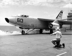A-3 Skywarrior. Cat shot off USS Forrestal circa 1960. VAH-5 Savage Sons