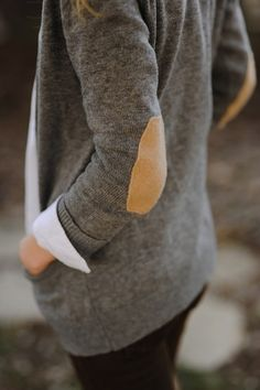 patches on elbows, grey cardigan