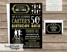 Customize For Any Event! ROARING 20'S INVITATION, Gatsby Invitation, Roaring 20's Great Gatsby, Speakeasy Party Roaring 20's Party by LeighTasticDesigns on Etsy https://www.etsy.com/listing/265682248/customize-for-any-event-roaring-20s