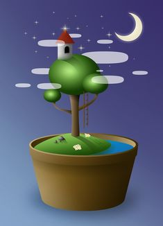 Island, Tree, Bonsai, Vase, Island, Night, Tower #island, #tree, #bonsai, #vase, #island, #night, #tower