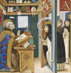 St. Thomas Aquinas, in the company of his brother Dominicans, encounters St. Bonaventure of Bagnoregio in his studium.