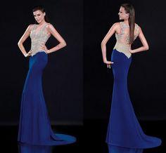 Tulle Chiffon V-neck Neckline Floor-length Sheath Evening Dresses on Luulla